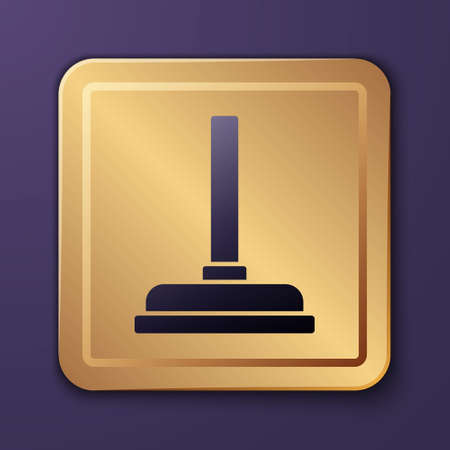 Purple Rubber plunger with wooden handle for pipe cleaning icon isolated on purple background. Toilet plunger. Gold square button. Vector