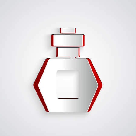 Paper cut Perfume icon isolated on grey background. Paper art style. Vector
