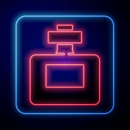 Glowing neon Perfume icon isolated on blue background. Vector