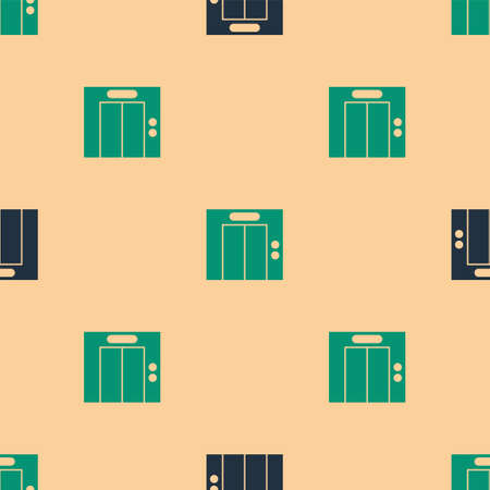 Green and black Lift icon isolated seamless pattern on beige background. Elevator symbol. Vector