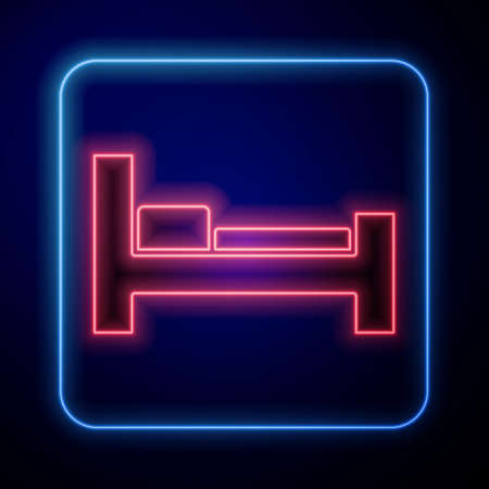 Glowing neon Hotel room bed icon isolated on blue background. Vector