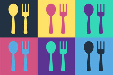 Pop art Fork and spoon icon isolated on color background. Cooking utensil. Cutlery sign. Vector