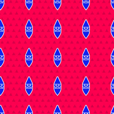 Blue Wizard warlock icon isolated seamless pattern on red background. Vector