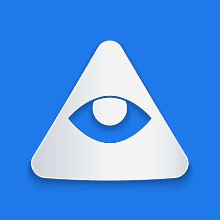 Paper cut Masons symbol All-seeing eye of God icon isolated on blue background. The eye of Providence in the triangle. Paper art style. Vector