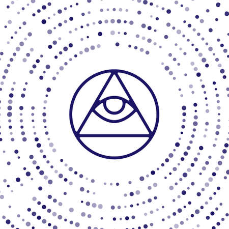 Blue Masons symbol All-seeing eye of God icon isolated on white background. The eye of Providence in the triangle. Abstract circle random dots. Vector Illustration