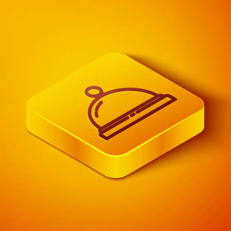 Isometric line Hotel service bell icon isolated on orange background. Reception bell. Yellow square button. Vector Illustration