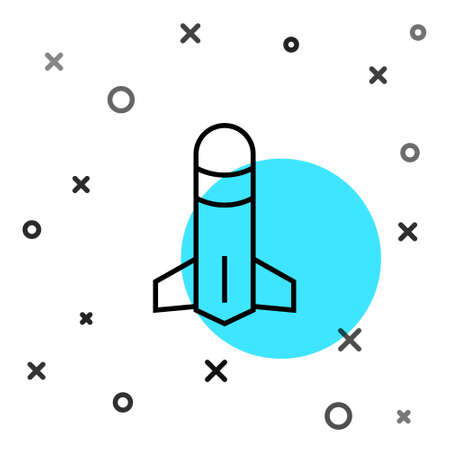 Black line Rocket icon isolated on white background. Random dynamic shapes. Vector