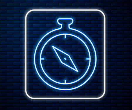 Glowing neon line Compass icon isolated on brick wall background. Windrose navigation symbol. Wind rose sign. Vector