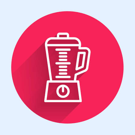 White line Blender icon isolated with long shadow. Kitchen electric stationary blender with bowl. Cooking smoothies, cocktail or juice. Red circle button. Vector