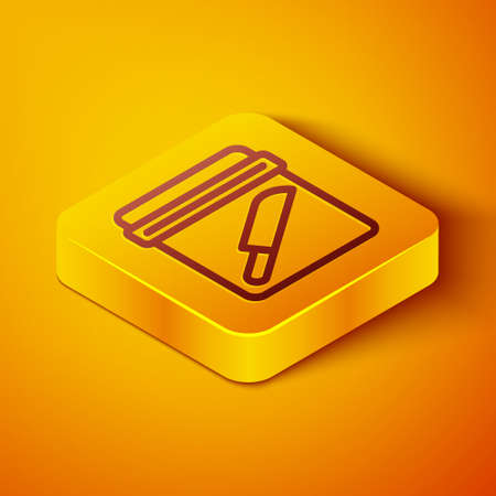 Isometric line Evidence bag with knife icon isolated on orange background. Yellow square button. Vector