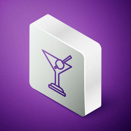 Isometric line Martini glass icon isolated on purple background. Cocktail icon. Wine glass icon. Silver square button. Vector