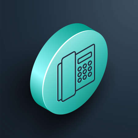Isometric line Telephone handset icon isolated on black background. Phone sign. Turquoise circle button. Vector