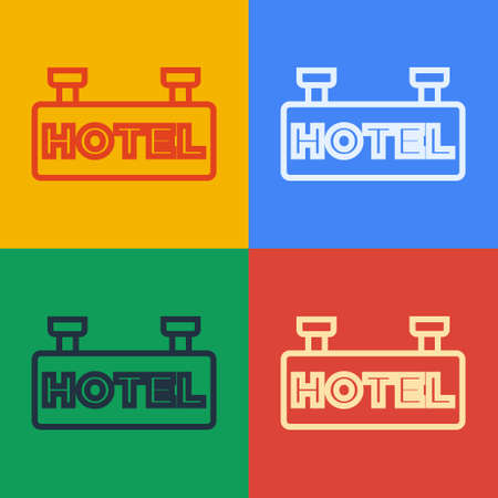 Pop art line Signboard outdoor advertising with text Hotel icon isolated on color background. Vector