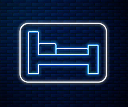 Glowing neon line Hotel room bed icon isolated on brick wall background. Vector