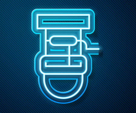 Glowing neon line Well with a bucket and drinking water icon isolated on blue background. Vector
