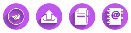 Set Paper plane, Upload inbox, Document and pen and Address book icon with long shadow. Vector