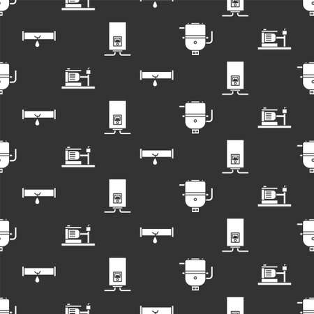 Set Electric boiler for heating water, Electric water pump, Broken pipe with leaking water and Gas boiler with a burning fire on seamless pattern. Vector