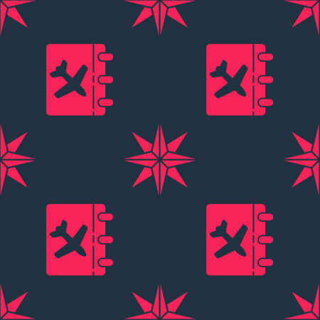 Set Calendar and airplane and Wind rose on seamless pattern. Vector