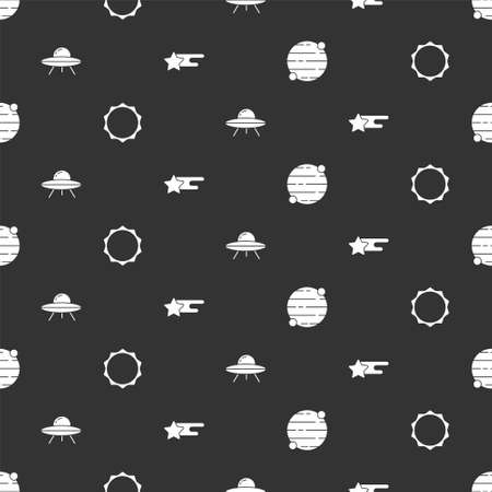 Set Planet, Sun, UFO flying spaceship and Falling star on seamless pattern. Vector