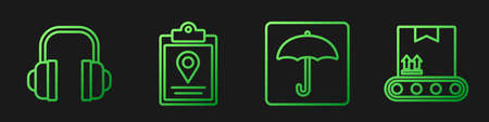 Set line Umbrella, Headphones, Document tracking marker system and Conveyor belt with cardboard box. Gradient color icons. Vector