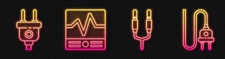 Set line Audio jack, Electric plug, Electrical measuring instruments and Electric plug. Glowing neon icon. Vector Иллюстрация