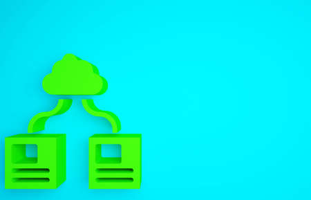Green Cloud technology data transfer and storage icon isolated on blue background. Minimalism concept. 3d illustration 3D render