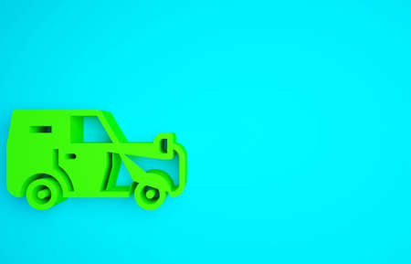 Green Off road car icon isolated on blue background. Minimalism concept. 3d illustration 3D render