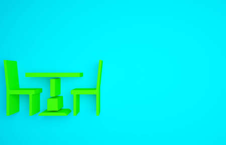 Green Wooden table with chair icon isolated on blue background. Minimalism concept. 3d illustration 3D render