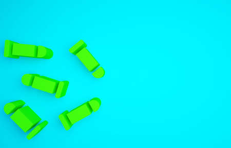 Green Bullet icon isolated on blue background. Minimalism concept. 3d illustration 3D render