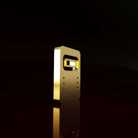 Gold Police assault shield icon isolated on brown background. Minimalism concept. 3d illustration 3D render Zdjęcie Seryjne