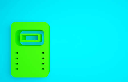 Green Police assault shield icon isolated on blue background. Minimalism concept. 3d illustration 3D render Zdjęcie Seryjne