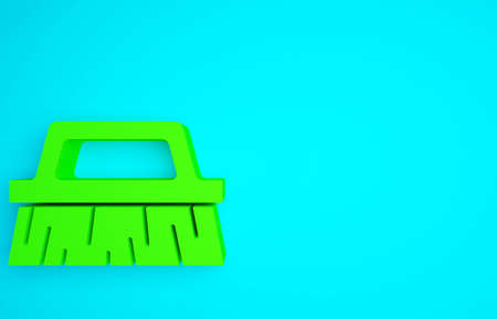 Green Brush for cleaning icon isolated on blue background. Minimalism concept. 3d illustration 3D render