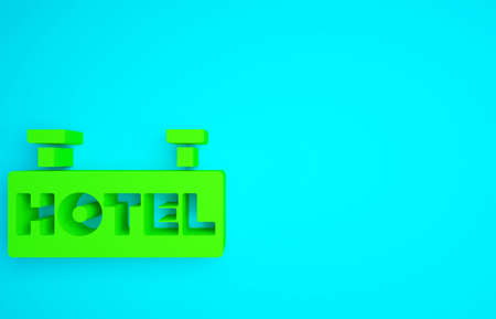 Green Signboard outdoor advertising with text Hotel icon isolated on blue background. Minimalism concept. 3d illustration 3D render