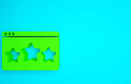 Green Five stars customer product rating review icon isolated on blue background. Favorite, best rating, award symbol. Minimalism concept. 3d illustration 3D render