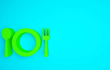 Green Plate, fork and knife icon isolated on blue background. Cutlery symbol. Restaurant sign. Minimalism concept. 3d illustration 3D render