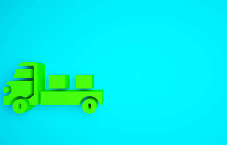 Green Pickup truck icon isolated on blue background. Minimalism concept. 3d illustration 3D render