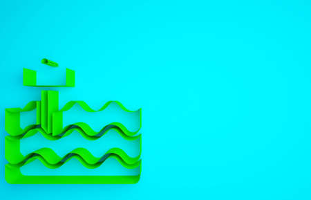 Green Garden bed or cultivation bed icon isolated on blue background. Minimalism concept. 3d illustration 3D render