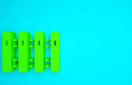 Green Garden fence wooden icon isolated on blue background. Minimalism concept. 3d illustration 3D render Standard-Bild