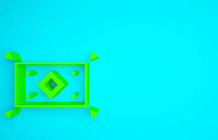 Green Magic carpet icon isolated on blue background. Minimalism concept. 3d illustration 3D render Standard-Bild