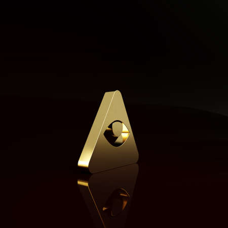 Gold Masons symbol All-seeing eye of God icon isolated on brown background. The eye of Providence in the triangle. Minimalism concept. 3d illustration 3D render