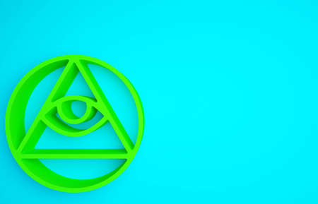 Green Masons symbol All-seeing eye of God icon isolated on blue background. The eye of Providence in the triangle. Minimalism concept.