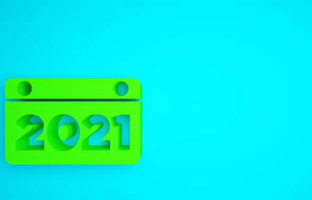 Green Calendar icon isolated on blue background. Event reminder symbol. Merry Christmas and Happy New Year. Minimalism concept. 3d illustration 3D render