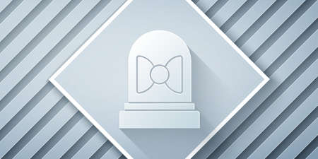 Paper cut Motion sensor icon isolated on grey background. Paper art style. Vector