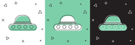 Set UFO flying spaceship icon isolated on white and green, black background. Flying saucer. Alien space ship. Futuristic unknown flying object. Vector  イラスト・ベクター素材