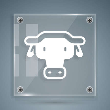 White African buffalo head icon isolated on grey background. Mascot, african savanna animal. Wild ox, carabao or bison bull with fused horns. Square glass panels. Vector
