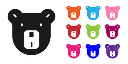 Black Bear head icon isolated on white background. Set icons colorful. Vector
