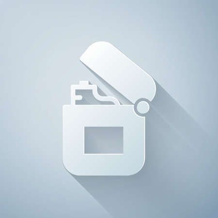 Paper cut Lighter icon isolated on grey background. Paper art style. Vector