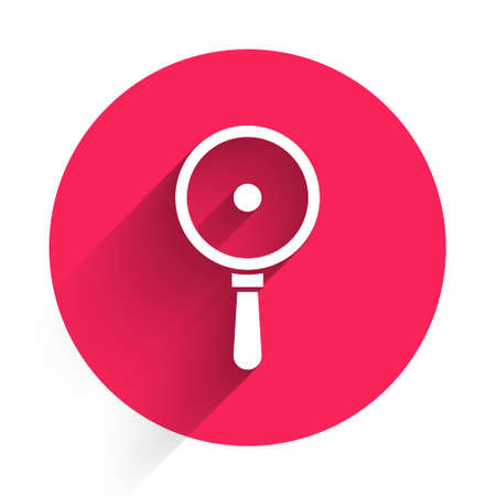 White Frying pan icon isolated with long shadow. Fry or roast food symbol. Red circle button. Vector