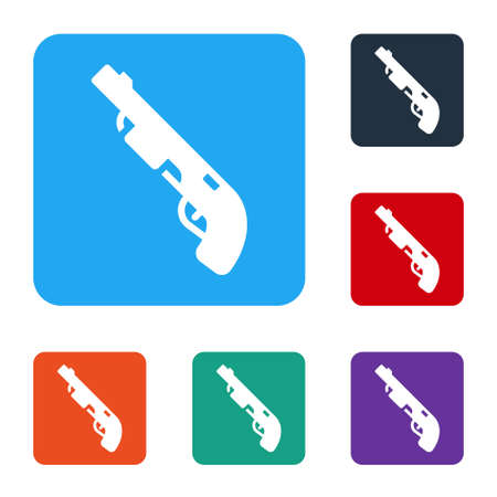 White Police shotgun icon isolated on white background. Hunting shotgun. Set icons in color square buttons. Vector