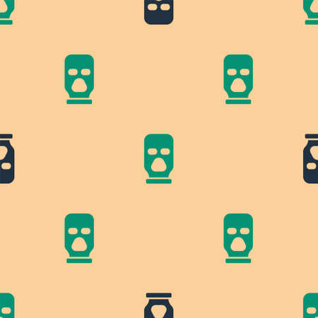 Green and black Balaclava icon isolated seamless pattern on beige background. A piece of clothing for winter sports or a mask for a criminal or a thief. Vector